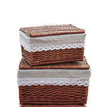 Hand Woven Wicker Basket with Lid and Liner, Dark Brown Set of 2