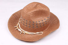 Hand Woven Straw Cowboy Hat with Rope Band and Pendant