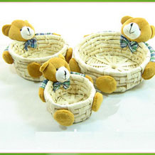Corn Husk Woven Storage Baskets / Containers with Bears